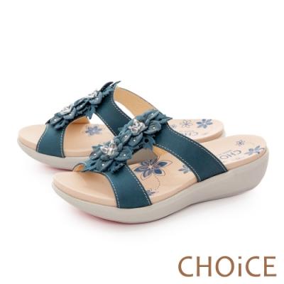 CHOiCE 嚴選真皮盛開花朵厚底 女 拖鞋 藍色