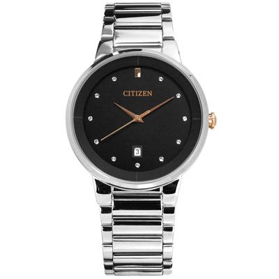 CITIZEN 星辰表 晶鑽刻度日期日本機芯不鏽鋼手錶-黑色/40mm
