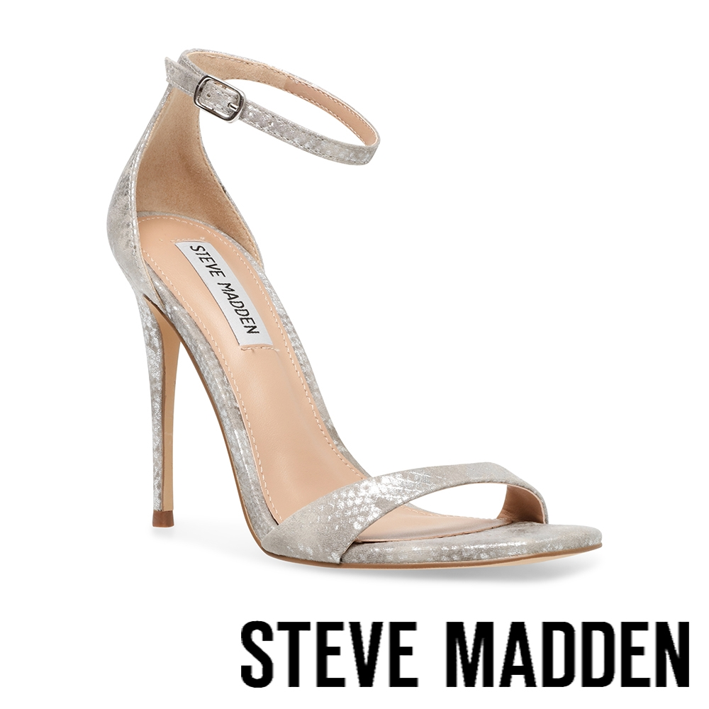 STEVE MADDEN-KASSANDRA 繞踝一字高跟涼鞋-淺灰色