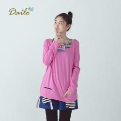 【Dailo】瞌睡牛條紋拼接-上衣(五色)
