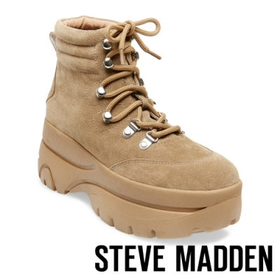 STEVE MADDEN-HUSKY 運動系增高素面高筒綁帶靴-絨棕色