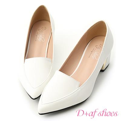 D+AF 知性風格.素面金屬跟尖頭跟鞋*白