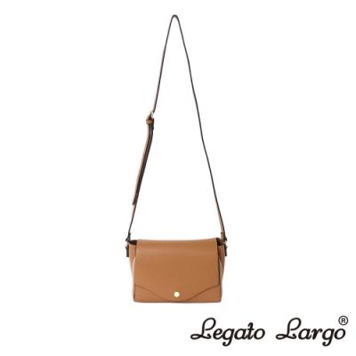 Legato Largo 驚異的輕量化 小法式極簡時尚 兩用皮夾斜背包 焦糖駝色