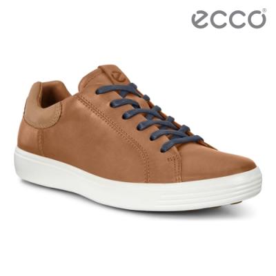 ECCO SOFT 7 M 單色拼接設計輕便休閒鞋 男鞋-駝色/棕色
