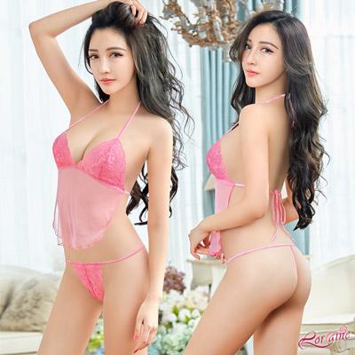 情趣內衣 粉紅透視薄紗綁帶美背式情趣比基尼二件組(粉F) Lorraine