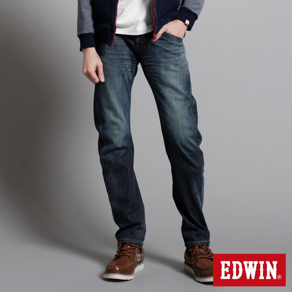 【EDWIN】衝鋒魔力 W-F EF迷彩窄直筒保溫褲-男款(中古藍)