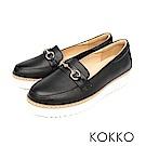 KOKKO - 經典素面鞋切尖頭牛皮高跟鞋-亮黑