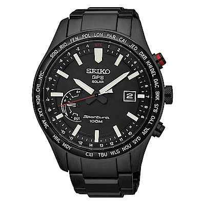 SEIKO 精工太陽能GPS定位世界時間手錶SSF005J1-黑/45mm