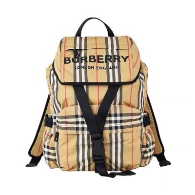 BURBERRY ICON STRIPE印花LOGO尼龍扣式後背包(小/米)