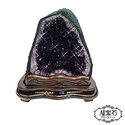 A1寶石頂級巴西天然紫晶洞鈦晶共生8kg贈五行木座