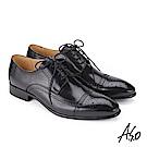 A.S.O 3D超動能 綁帶壓紋牛皮奈米紳士鞋 黑
