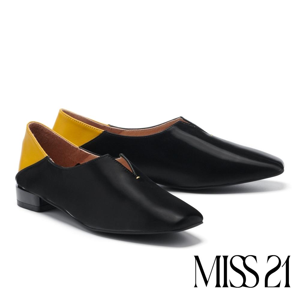 低跟鞋 MISS 21 玩味小文青拼接設計真皮方頭低跟鞋-黑