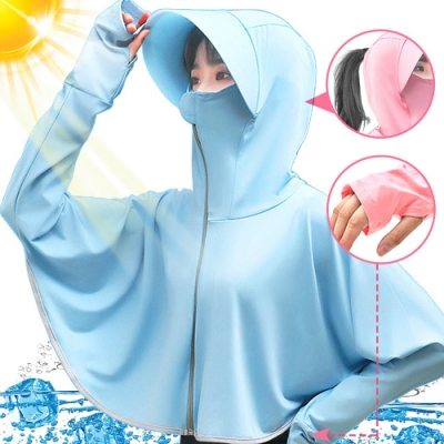 冰絲連帽防曬外套   抗UV女防曬衣服披風