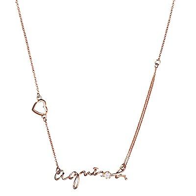 agnes b. Logo經典品牌項鍊(玫瑰金)