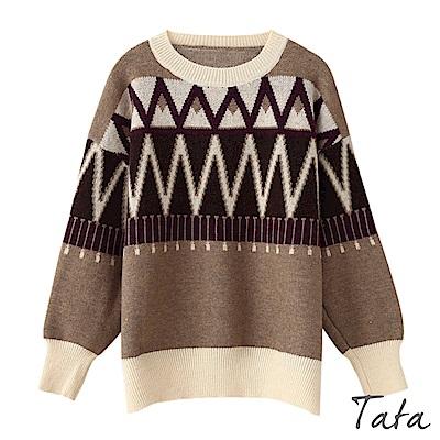 寬鬆圓領幾何針織上衣 TATA