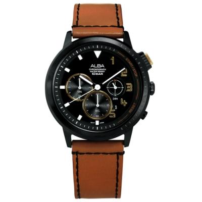 ALBA 紳士英倫 三眼計時 日期 防水100米 真皮手錶-黑x棕/44mm