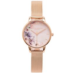 OLIVIA BURTON  花香錦簇款米蘭帶手錶-粉色面/30mm