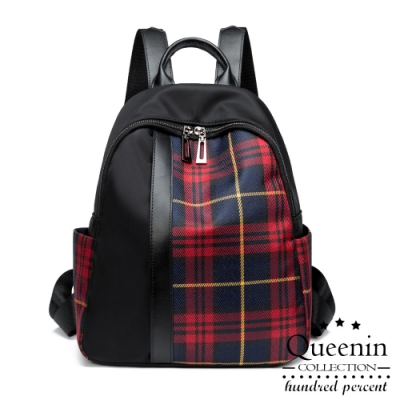 DF Queenin日韓 - 英倫格紋學院風大容量後背包-共2色