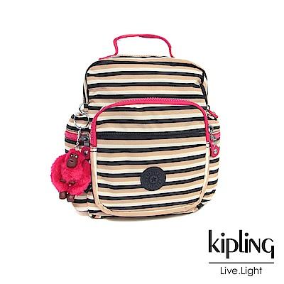 Kipling 後背包 簡約蜜橙條紋-小
