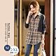 悠美學-韓系中大碼牛仔格子拼接造型上衣-灰格(L-2XL) product thumbnail 1