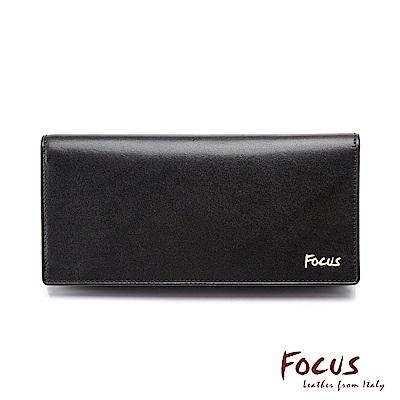 FOCUS原皮時尚黑15卡透明窗長夾(FGB3696)