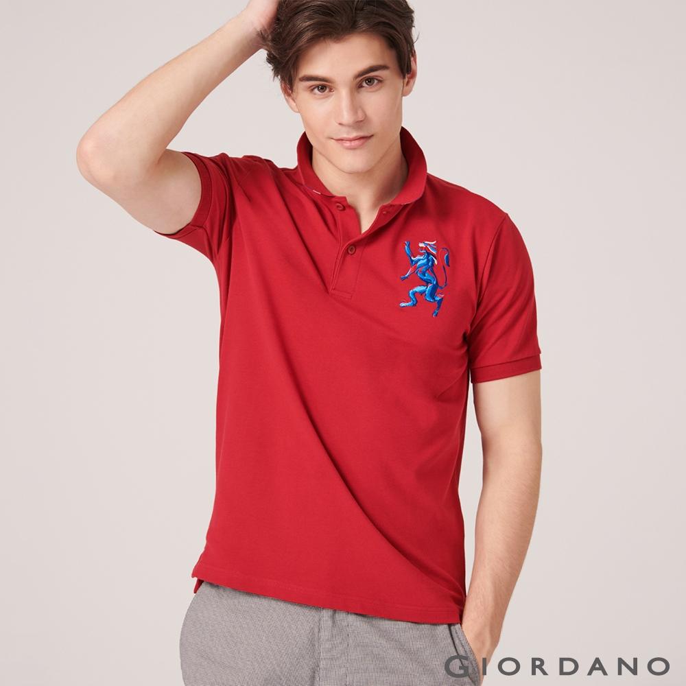 GIORDANO 男裝勝利獅王漸層刺繡彈力萊卡POLO衫-38 標誌紅