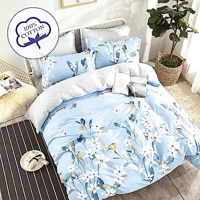 A-one - 100%純棉 雙人加大床包枕套三件組 - 綻放 台灣製