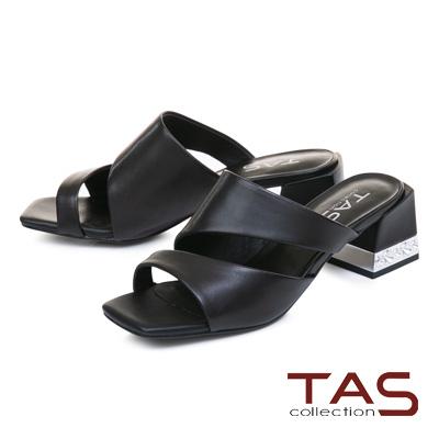 TAS素面曲線羊皮金屬粗跟涼拖鞋-俐落黑