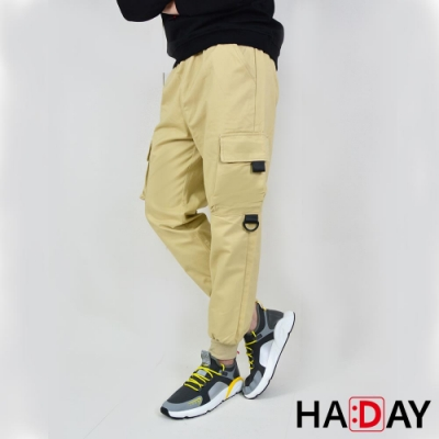 HADAY 男裝 長褲 縮口 鬆緊 高磅棉質工作褲 淺色卡其 多功能