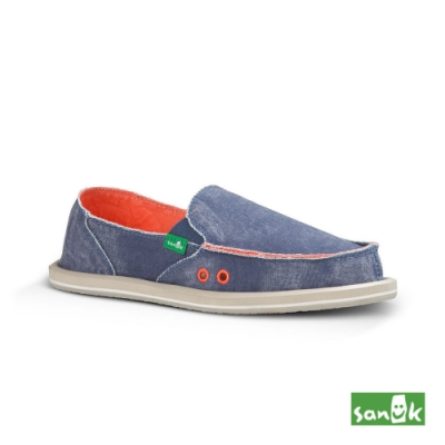 SANUK 女款 US5 仿舊帆布懶人鞋(藍色)