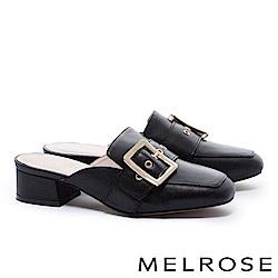 拖鞋 MELROSE 簡約時尚知性金屬大方飾釦繫帶粗低跟穆勒拖鞋-黑