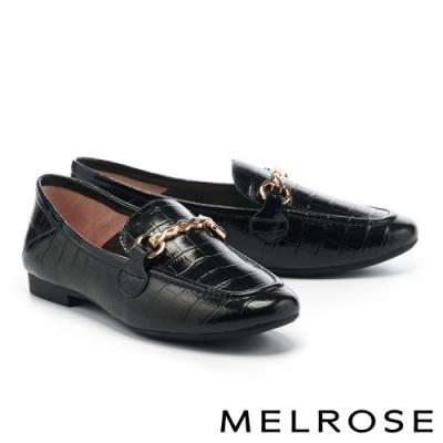 低跟鞋 MELROSE 復古時尚金屬鏈條全真皮樂福低跟鞋-黑