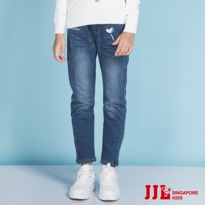 JJLKIDS 心型魔法棒刺繡內刷毛牛仔褲(藏青)