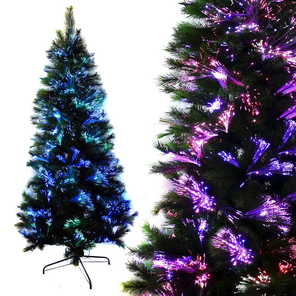 摩達客 科技幻光7尺(210cm)松針+PVC特級混合葉LED光纖綠色聖誕樹