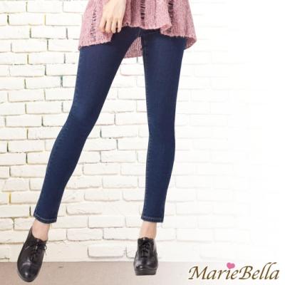 MarieBella 彈力修身牛仔內搭褲-藍