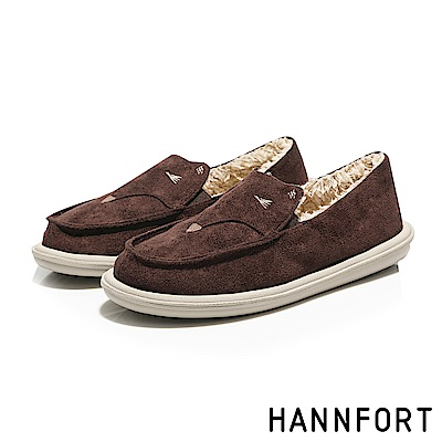 HANNFORT COZY微笑狐狸毛毛懶人鞋-女-栗子褐