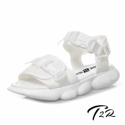 T2R 正韓空運-2019夏季新款卡扣可調好穿脫運動涼鞋-微增高3cm-白