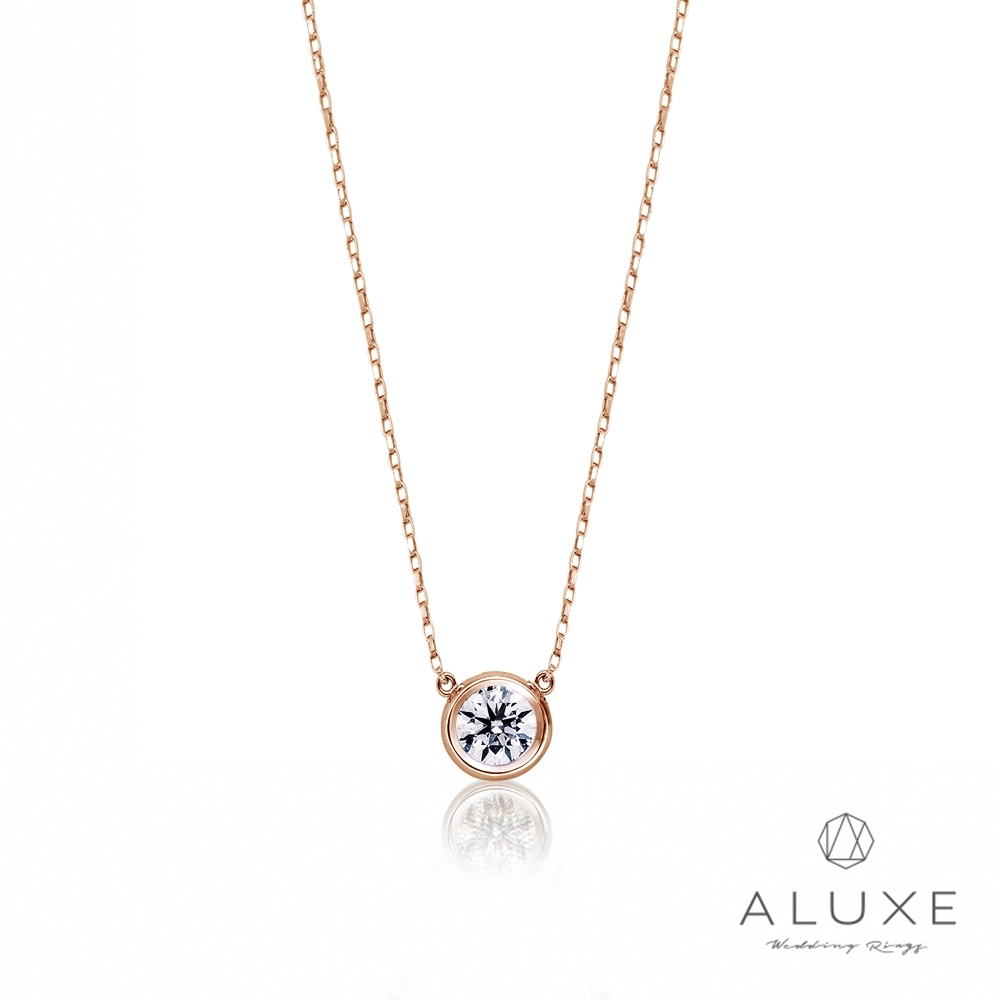 ALUXE亞立詩 18K金 0.12克拉單鑽玫瑰金項鍊