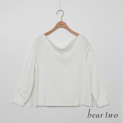 beartwo-素面一字領上衣-米白