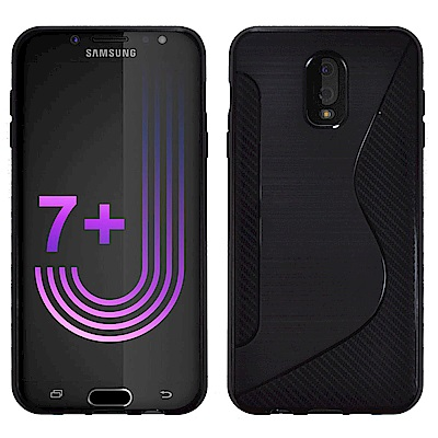 Metal-Slim Samsung Galaxy J7 Plus 卡夢拼接TPU保護殼
