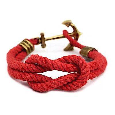 Kiel James Patrick 紅色水手繩結編織手鍊手環