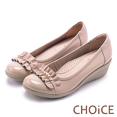 CHOiCE Q軟舒適優雅 抓皺牛皮水鑽坡跟鞋-粉色
