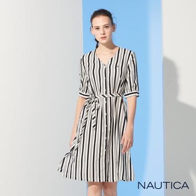 Nautica 女裝復古成熟條紋長洋裝-灰