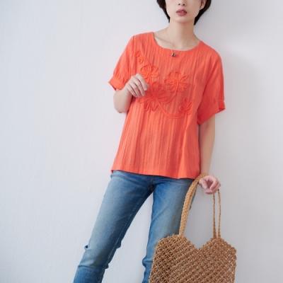 慢 生活 立體貼花刺繡肌理上衣- 橘色