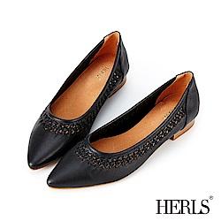 HERLS 全真皮鏤空編織滾邊尖頭低跟鞋-黑色