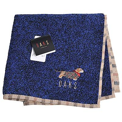 DAKS 經典品牌格紋字母可愛臘腸狗刺繡LOGO小方巾(藍黑色)