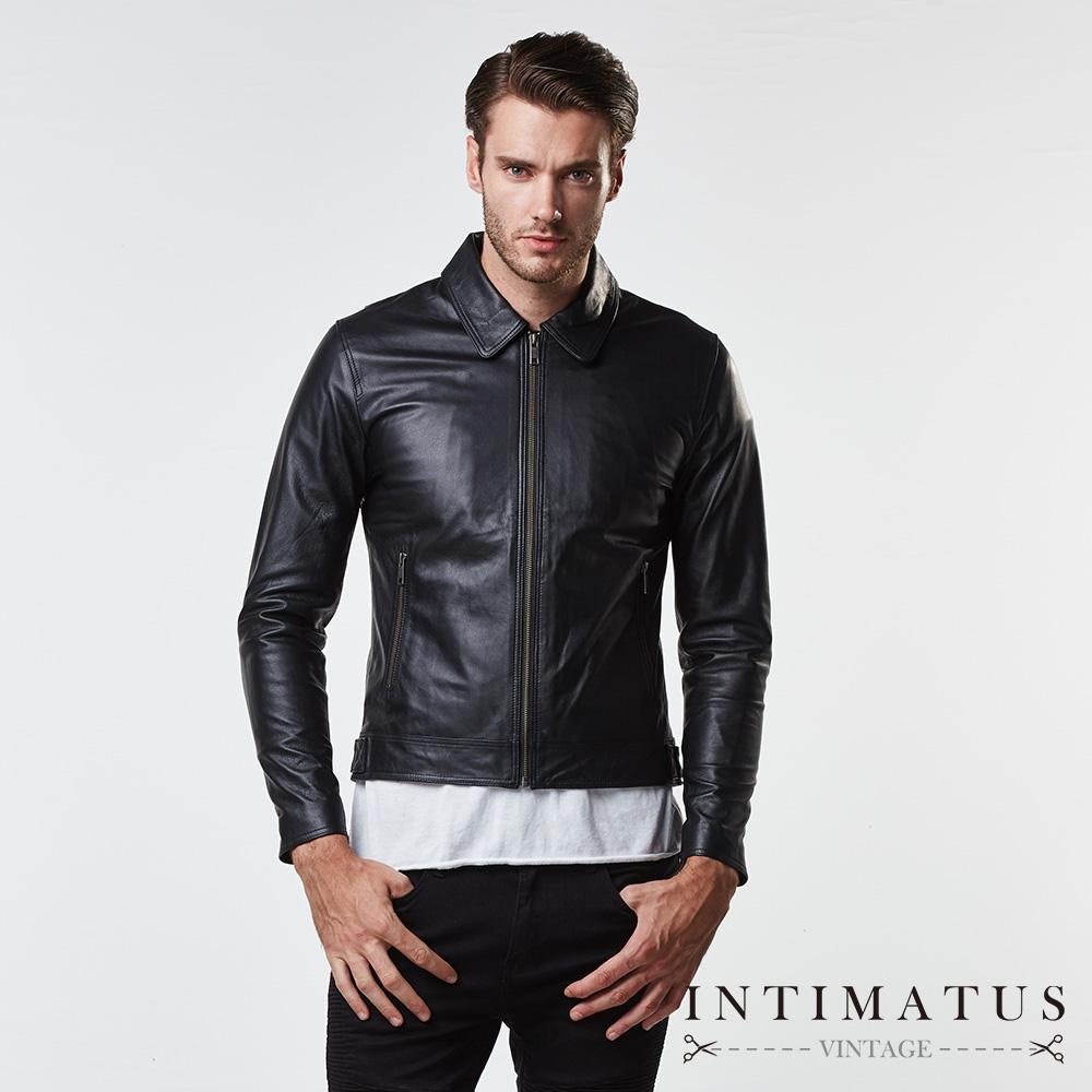 INTIMATUS 真皮 復古飛官設計單領式小羊皮皮衣 經典黑