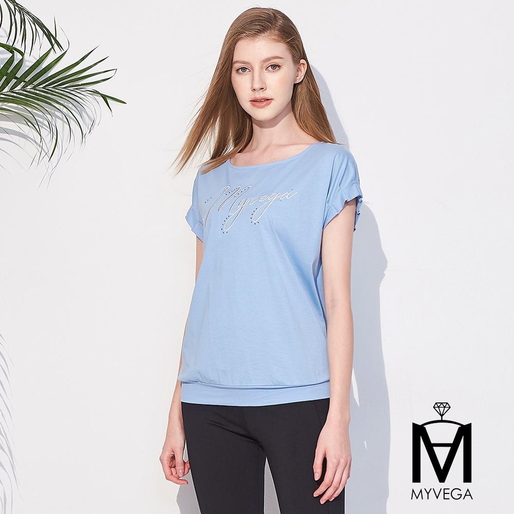MYVEGA麥雪爾 MA高含棉英文字母刺繡T恤-灰藍