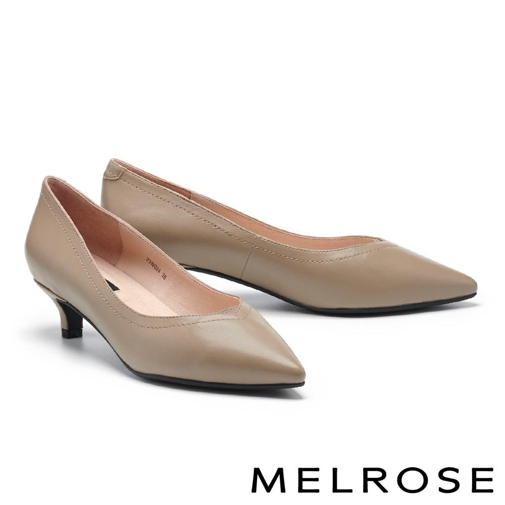低跟鞋 MELROSE 極簡時尚純色羊皮尖頭低跟鞋-米