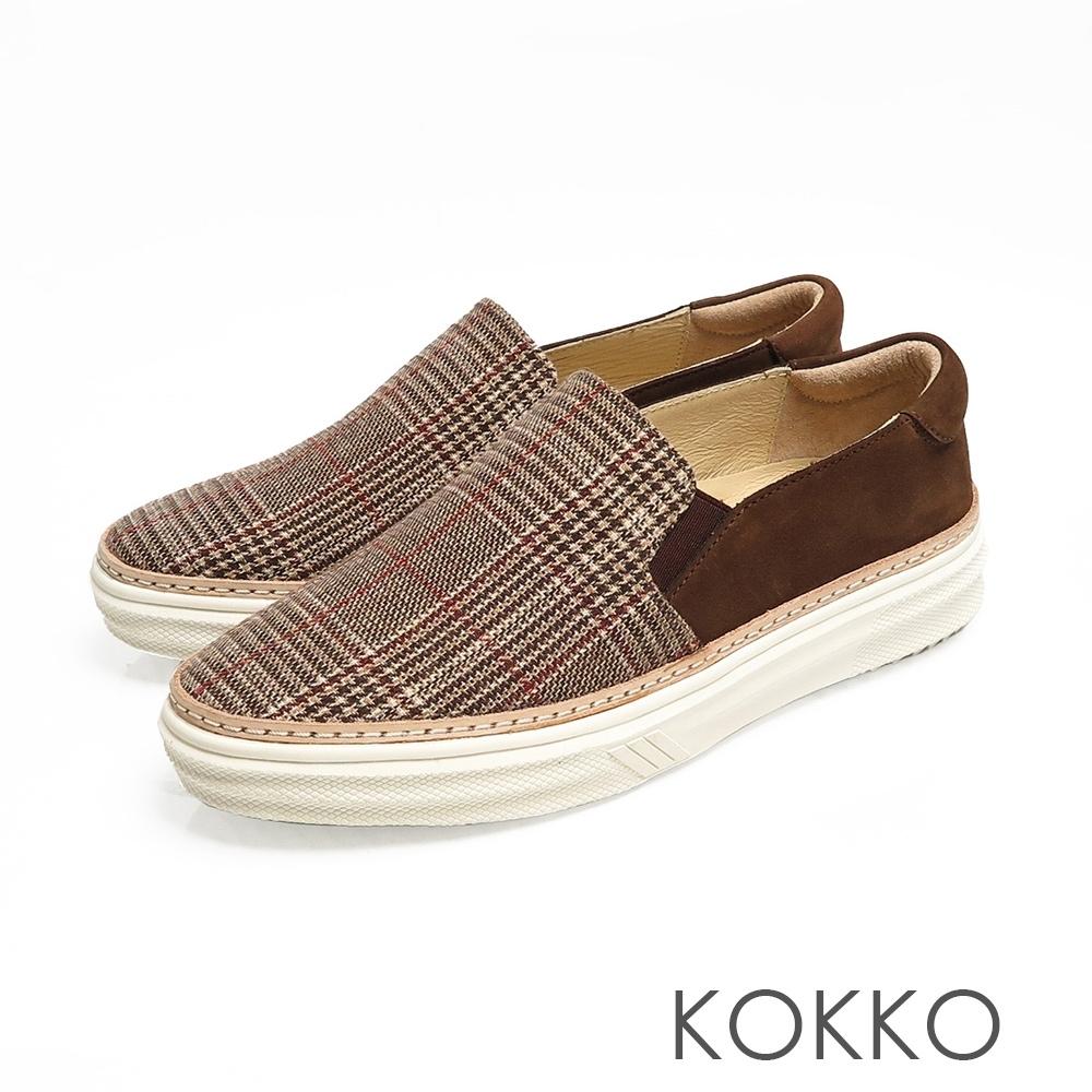 KOKKO心的縮寫滾邊真皮厚底懶人鞋格紋棕